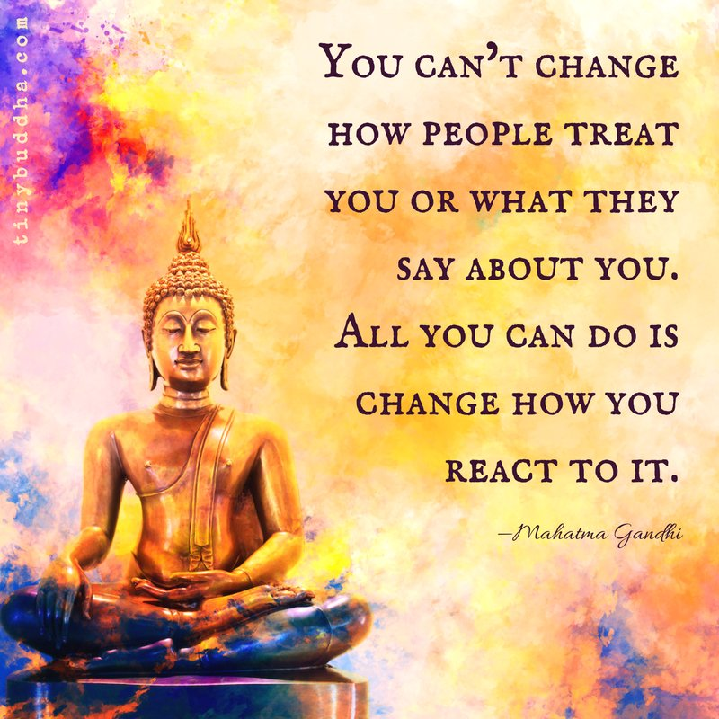 'You can't change how people treat you or what they say about you. All you can do is change how you react to it.' ~Mahatma Gandhi