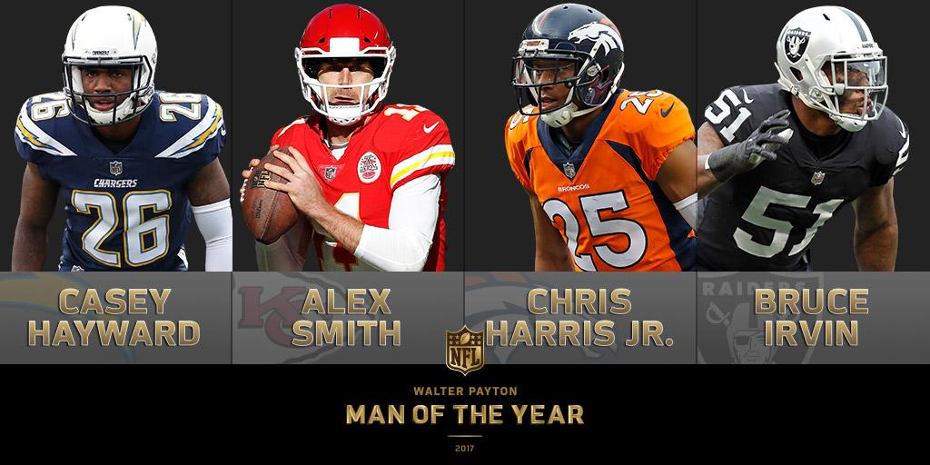 Improving their communities, one day at a time…  Meet the AFC West nominees for the 2017 Walter Payton NFL Man of the Year award: https://t.co/Nmi4QpfGGF #WPMOY