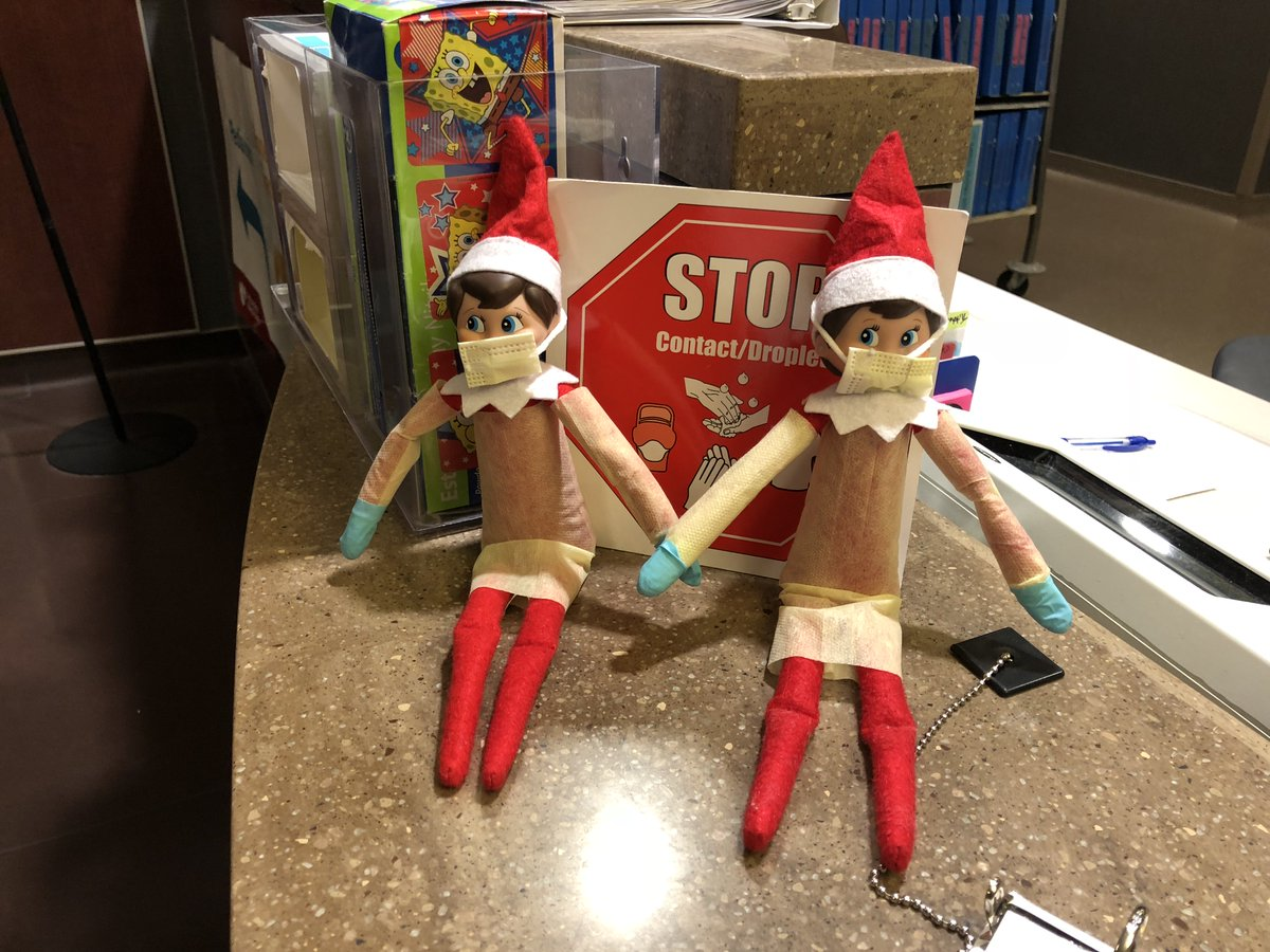 Our elves on the shelf practice good hygiene in our pediatric unit, but they also have time to moonlight as superheroes and super villains! #elfontheshelf