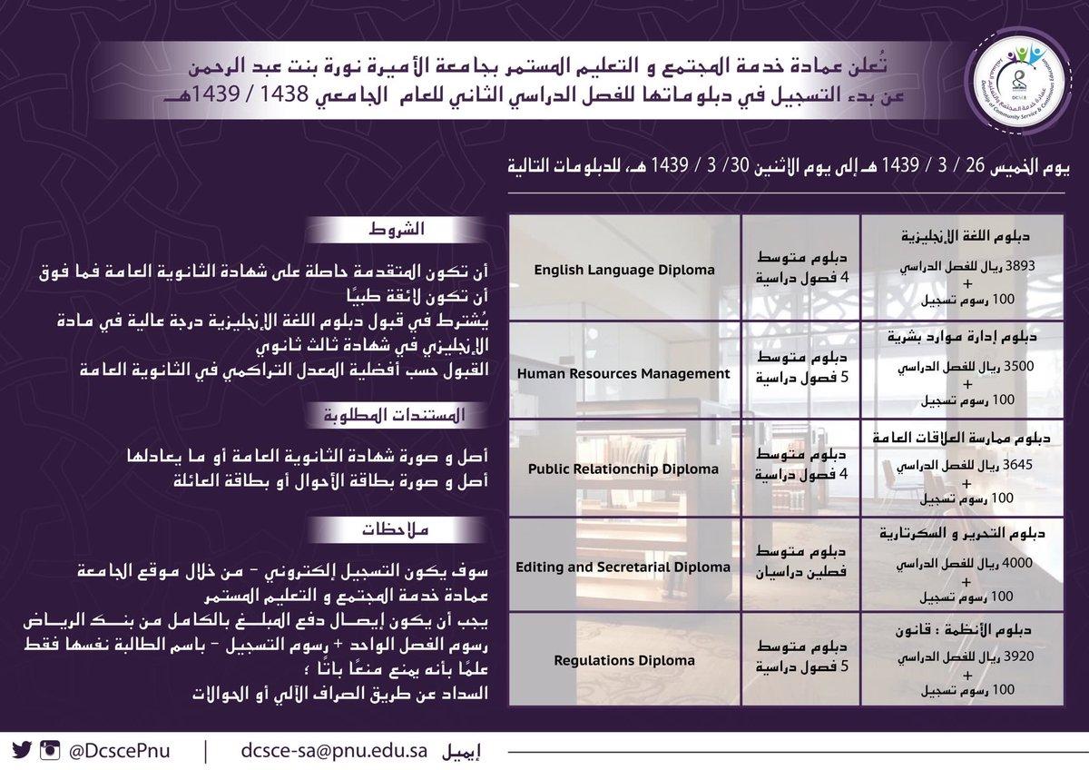 وافي بن عبد الله On Twitter اليوم فتح التقديم على 5 دبلومات تمنحها جامعة الأميرة نوره ويستمر التقديم حتى الإثنين القادم Dcscepnu Pnu Ksa من هنا التقديم Https T Co Zziisxd7wt Https T Co Q258iuvxlo