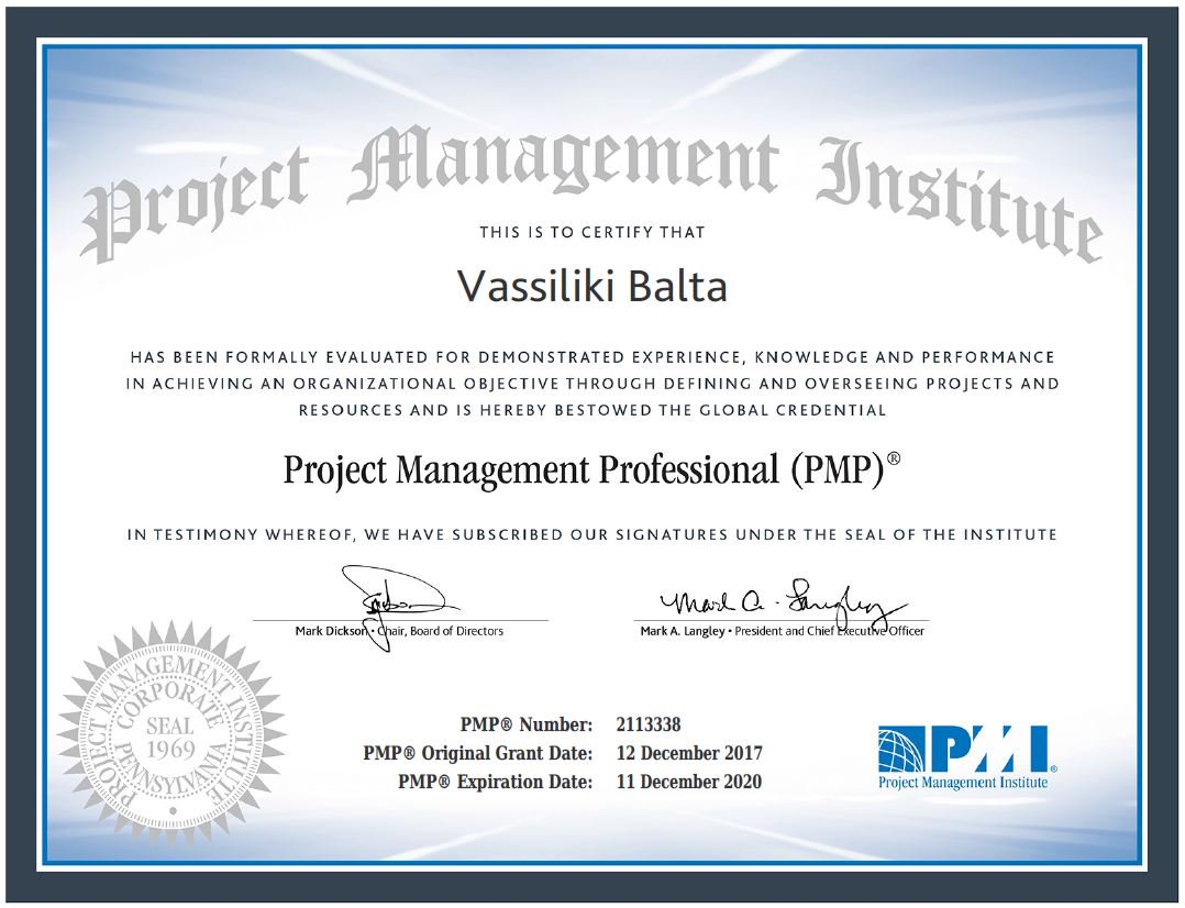 Vassiliki Balta On Twitter Proud To Successfully Pass The Pmi Pmp