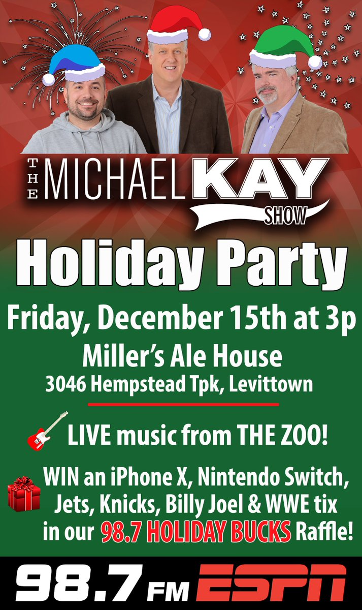 TODAY! #KayHolidayParty @MillersAleHouse Levittown, 3PM! - Bring an unwrapped toy for #ToysForTots get a raffle ticket! Win an iPhoneX, Nintendo Switch, a PS4 Game Pack, #WWERaw 25 tix, Jets VIP Experience, Knicks-Thunder tix and More!