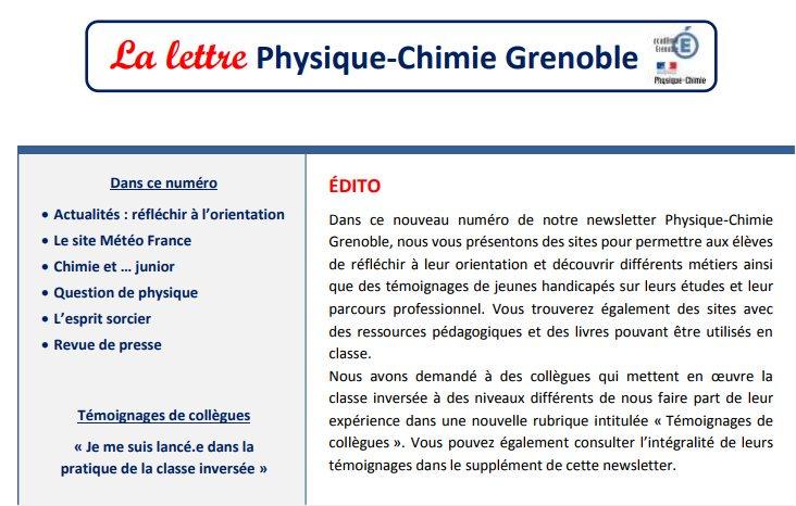 Témoignages de collègues sur la pratique de la #classeinversée  dans la newsletter 10  #physique #chimie de l'@acgrenoble http:// bit.ly/2ysP2bI    pic.twitter.com/SStEzOx7Cx