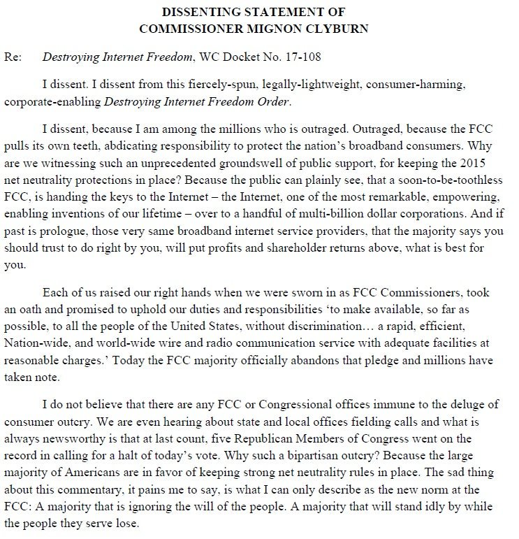My statement opposing the @FCC majority's repeal of #NetNeutrality.  Read here: https://t.co/qQ9ut15FkI