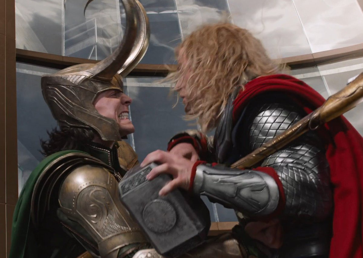 """hermione on Twitter: """"thor's look of annoyance after loki stabbed him in  the avengers is so much better now we know loki just stabs him all the  time. like any time thor"""