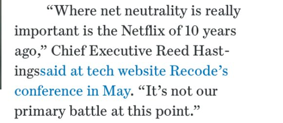 So this in @netflix on #NetNeutrality so how about you respond by saying no to Netflix. Chances are you won't, because in reality no one will take a stand that means something. I am no longer a Netflix sub, and don't use Google Search. Will you? #RiseUp for