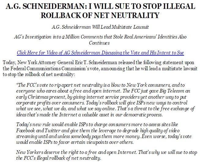 Inbox:   A.G. SCHNEIDERMAN: I WILL SUE TO STOP ILLEGAL ROLLBACK OF NET NEUTRALITY  #DigCommSU