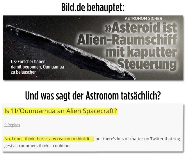 Ein Astronom antwortet auf die Frage, ob es sich bei #Oumuamua um ein Alien-Raumschiff handelt: 'Nee'. @BILD.de titelt: 'Astronom sagt, Asteroid ist ein Alien-Raumschiff' 🤦🏽: https://t.co/a2IV8RhaWe