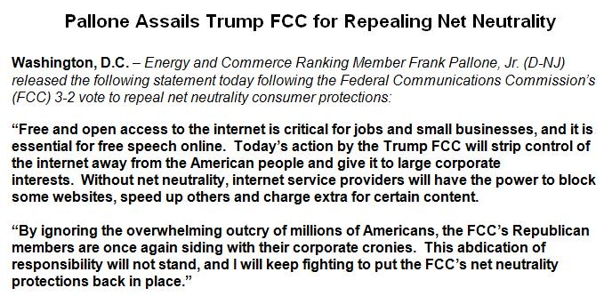 By ignoring the overwhelming outcry of millions of Americans, the FCC's Republican members are once again siding with their corporate cronies.  This abdication of responsibility will not stand, and I will keep fighting to put the FCC's #NetNeutrality protections back in place.