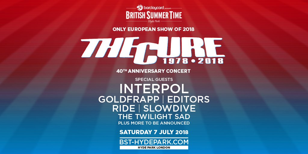 IT'S FRIDAY, AND WE'RE IN LOVE… Because tickets for @thecure, @Interpol, @goldfrapp and many more are now on sale! See you all in July! https://t.co/CGJp5XXeEo