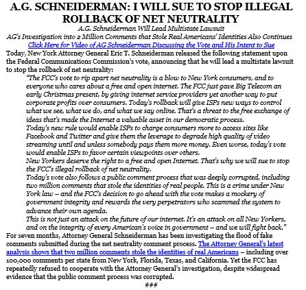 NY Attorney General Eric Schneiderman says in a statement he will lead a multi-state lawsuit to challenge the FCC's vote today #NetNeutrality.