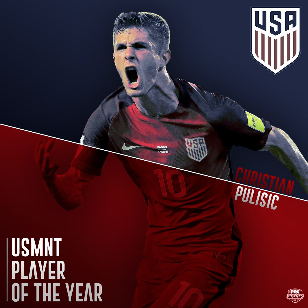 No surprise here!  Christian Pulisic is named U.S. Soccer's USMNT Player of the Year. 🇺🇸
