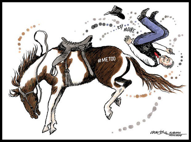 Cartoonist @Crowejam: The #MeToo movement knocked Roy Moore off his high horse https://t.co/JZ9JN6VnJT