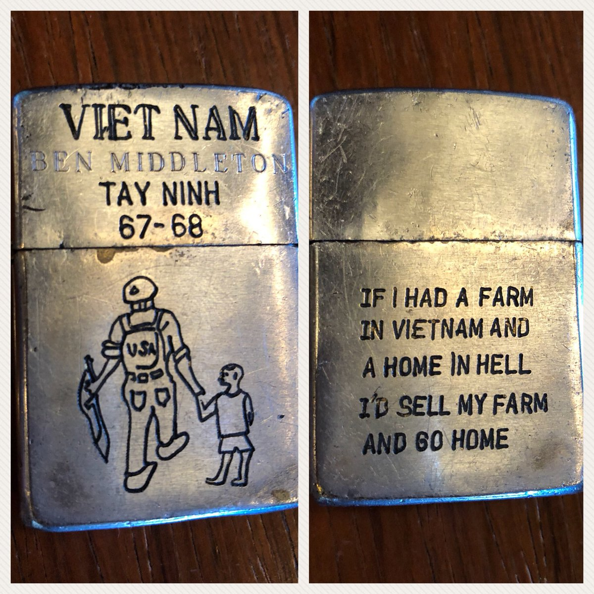 Crowdsourcing: Discovered this antique Zippo Lighter that may have belonged to someone in the Vietnam War who served in Tay Ninh in 1967-68. Would like to return to its rightful owner! Please share to help get this back to Ben Middleton.