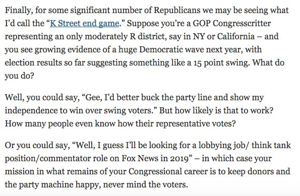 So, yesterday I wrote about the possible motivations of Republicans in pushing a wildly unpopular tax bill. I included as one important factor the 'K street end game' https://t.co/YA4YXYsZMu