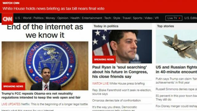 CNN headline declares net neutrality repeal 'end of the Internet as we know it' https://t.co/dFry9wvVS9