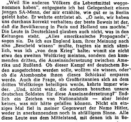 '... wie will man Menschen erziehen, die nichts glauben, was man ihnen sagt, weil sie alles für 'Propaganda' halten?' @tagesspiegel #OTD 1947. Aus den Deutschland-Reisenotizen von Anna Goetz, einer Deutschen, die seit 1938 in England gelebt hatte.