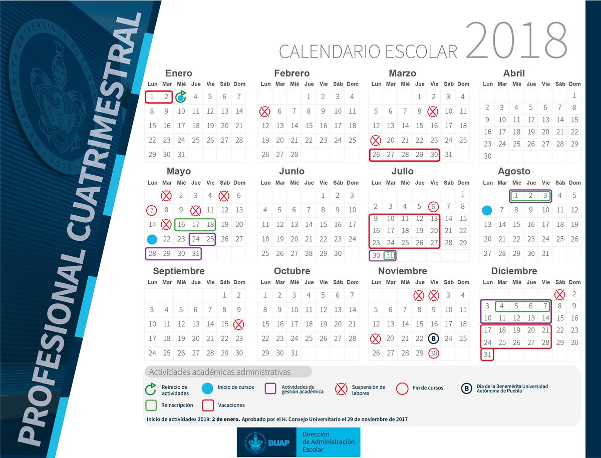 Calendario Escolar 18 19 Puebla.Buap On Twitter Conoce El Calendario Escolar 2018 Y