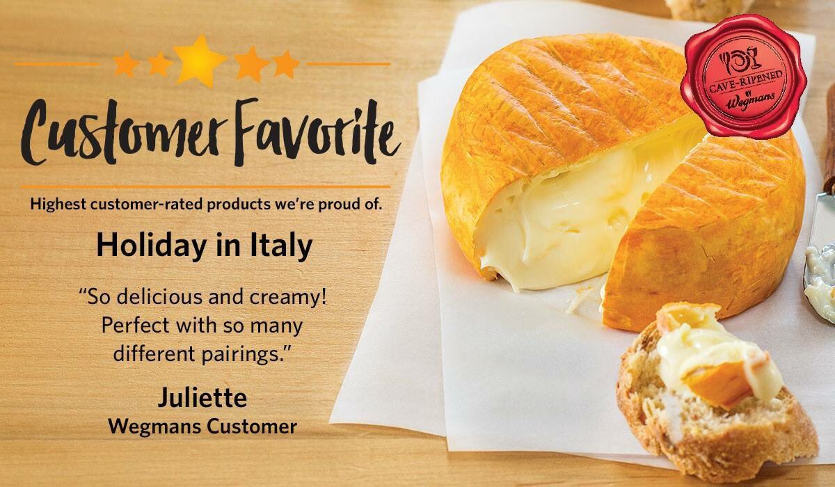 Our customers love our Holiday in Italy Cheese!  Tune in Friday at 8:30am to hear more about this and some of our other featured Holiday Cheeses!  We'll be Facebook Live at our very own Wegmans Cheese Caves, see you there! #wegmans #cheese