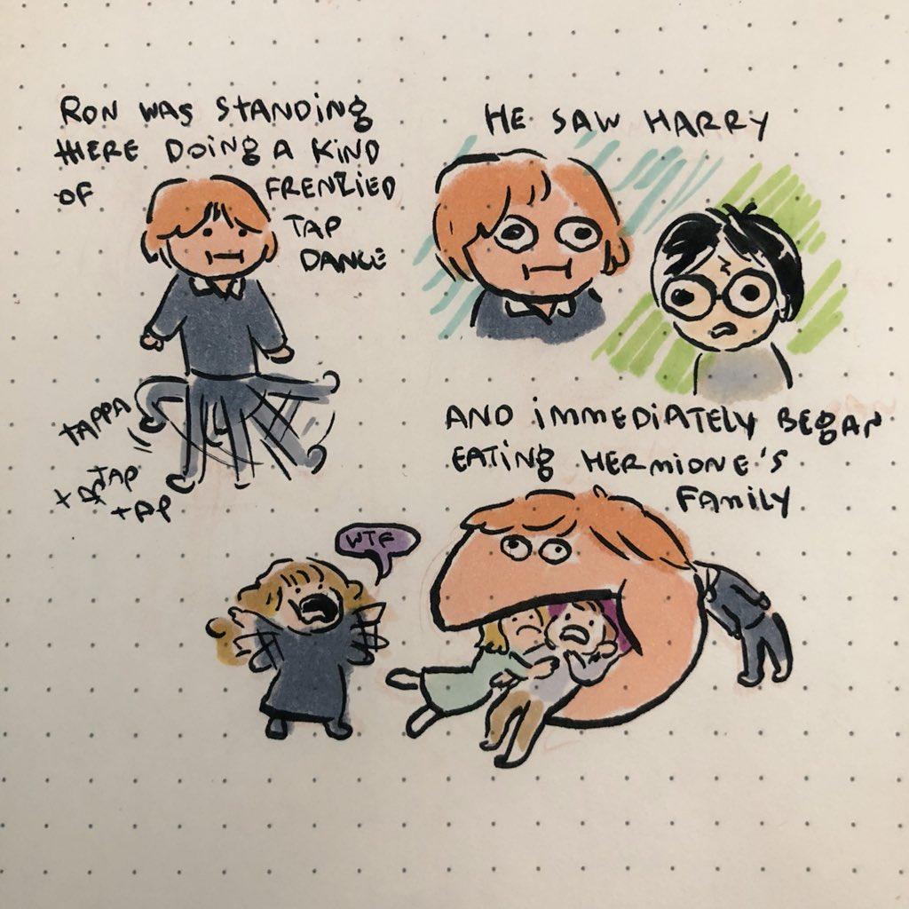 榮恩站著,跳著某種踢踏舞,他看見哈利後,就把妙麗的家人吃掉了。
