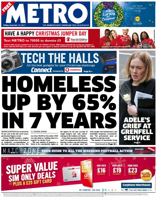 THE METRO FRONT PAGE: 'Homeless up by 65...