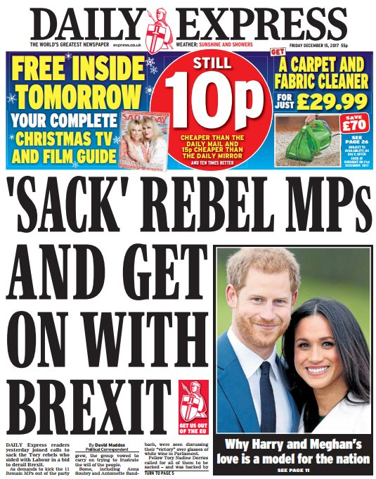 DAILY EXPRESS FRONT PAGE: ''Sack' rebel...