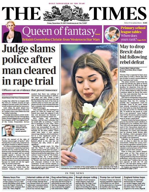 THE TIMES FRONT PAGE: 'Judge slams polic...