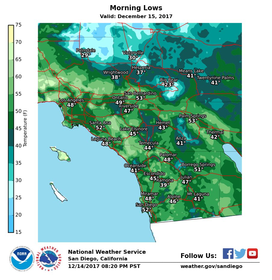 Here is a look at forecast low temperatures tonight. #cawx #socal