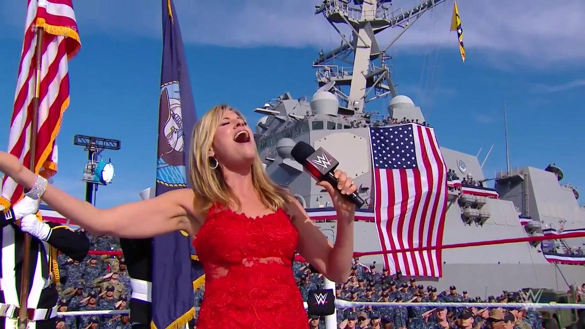 GOOSEBUMPS! A rousing rendition of the U.S. National Anthem by @LilianGarcia kicks off the 15th annual @WWE @TributeToTroops! #Troops15