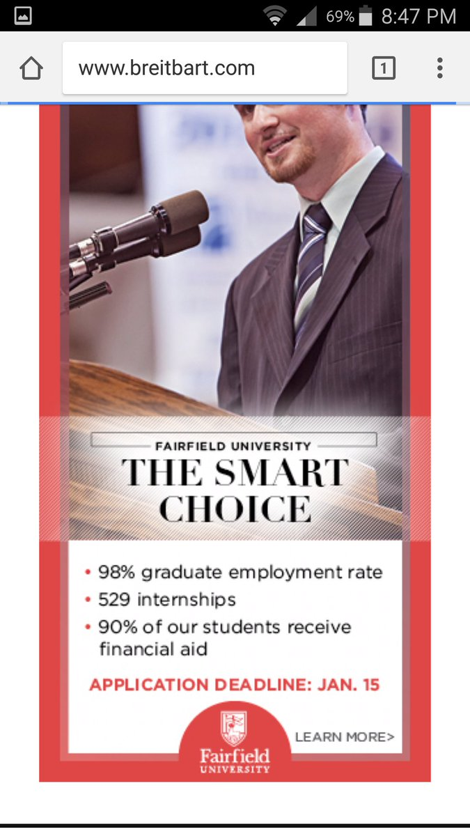 @FairfieldU you may not be aware that your ad is on alt-right Breitbart. Please block from your ad buy. @slpng_giants<br>http://pic.twitter.com/19Q4h66GSH