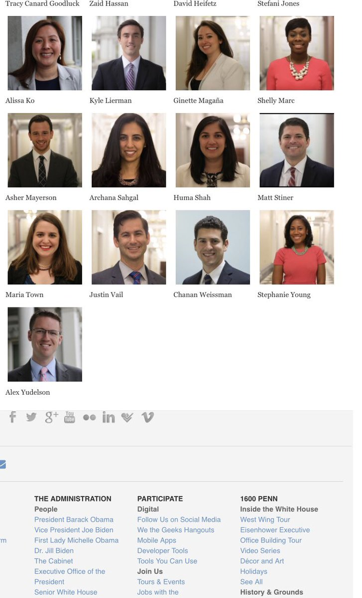 Since Sarah Huckabee Sanders is touting their nonexistent diversity, figured I'd post a screenshot of our office staff on the last day of the Obama admin. Diversity of race, gender, ethnicity, economics, but also life experience, thought, & background. A real tapestry of America.