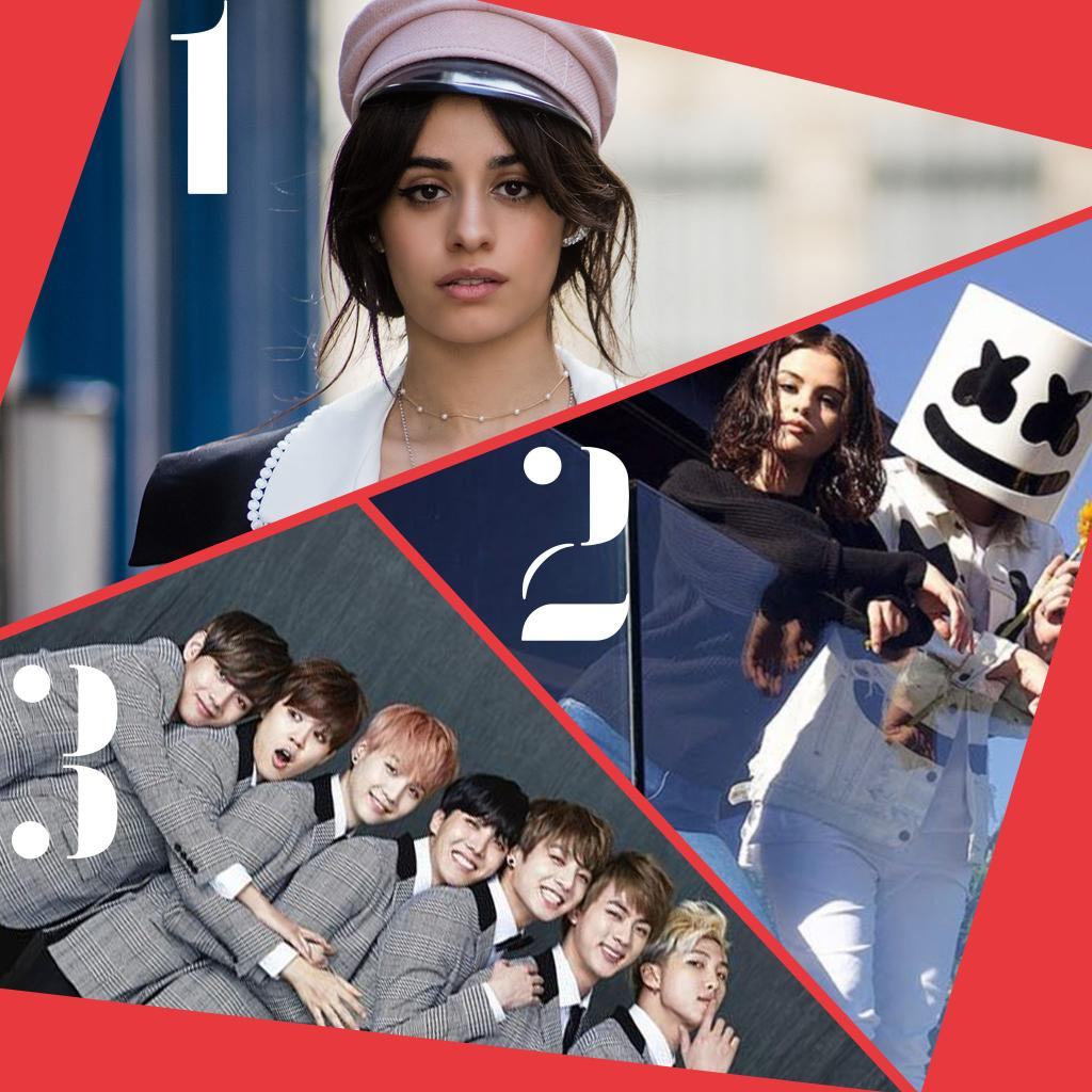 Here's Thursday's #RDTop3. 1. @Camila_Cabello #Havana 2. @SelenaGomez x @MarshmelloMusic #Wolves 3. @BTS.twt #DNA
