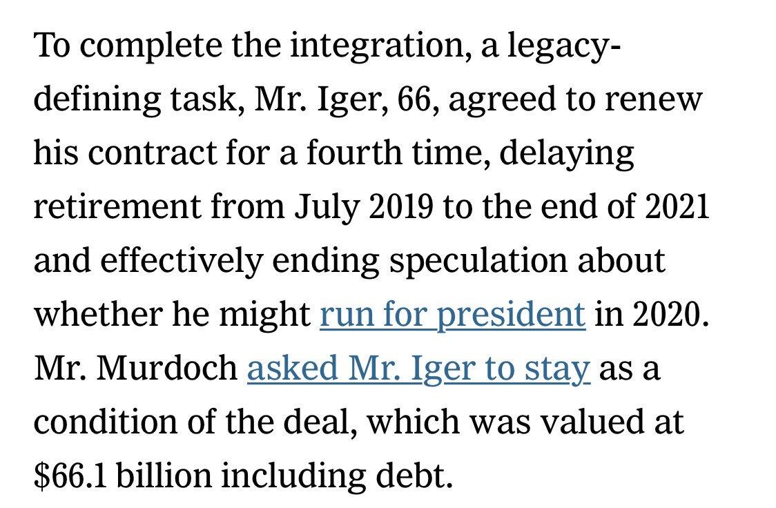 I'd missed this Iger news earlier. Not running for president https://t.co/oRynlFuGjG