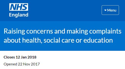 .@NHSEngland are seeking views on people's experience of raising concerns with services.   The survey is for children, young people and adults with a learning disability, autism or both, their families & paid carers  Closes 12/1:  https://t.co/MyJROCr0pj