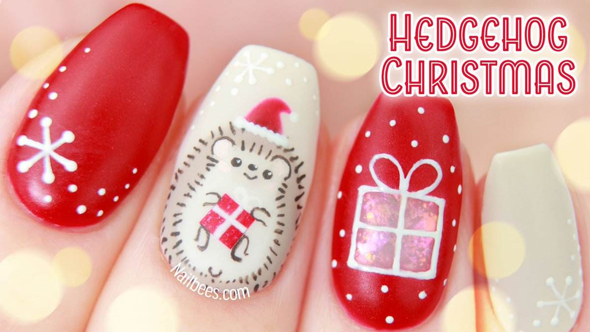 Nailbees On Twitter My Chritsmas Nail Design With A Hedgie Santa