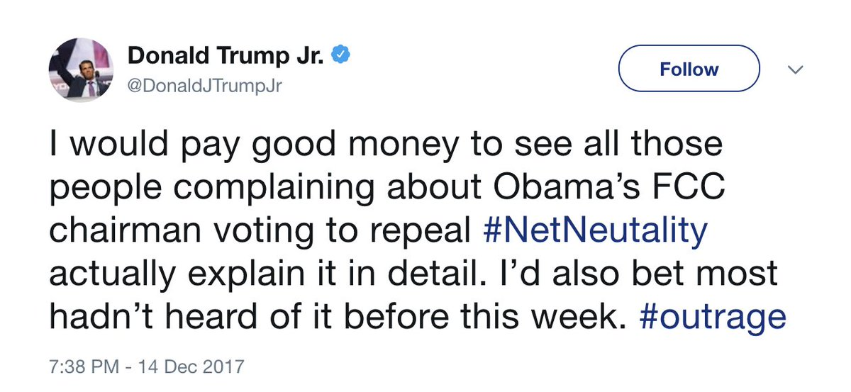 Trump Jr. calls Trump-appointed FCC chairman 'Obama's FCC chairman' in net neutrality tweet https://t.co/yacEotlWDX
