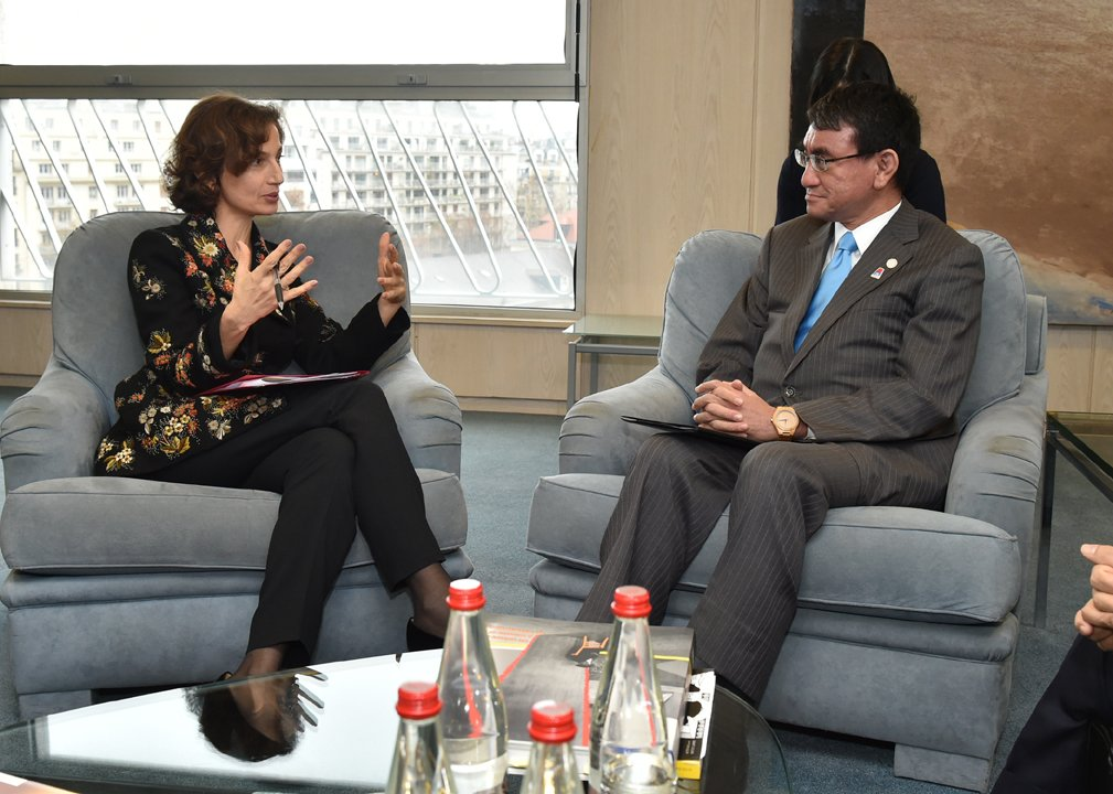 Meeting between Foreign Minister Taro Kono and H.E. Ms. Audrey Azoulay, Director-General of UNESCO  https://t.co/YMnS0Bhtod