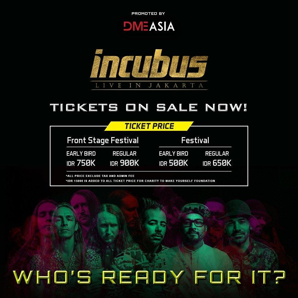 Dyandra Promosindo On Twitter Incubus Live In Jakarta Tickets On