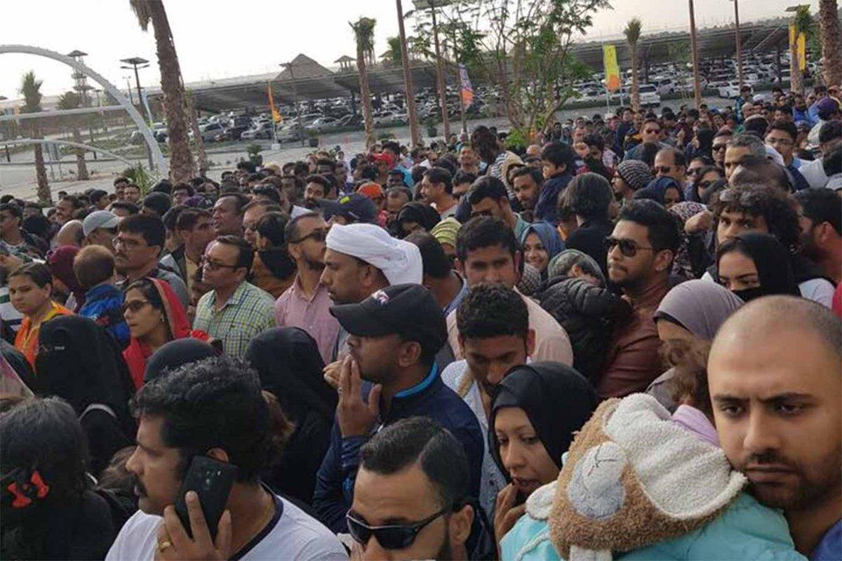 Massive crowd at the entrance of Dubai Safari Park today https://t.co/ICe3DSVD0k
