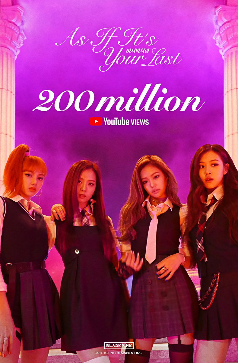 #BLACKPINK's #ASIFITSYOURLAST MV Hits 200 Million Views on @YouTube! https://t.co/k3ySJgSqpU #RANKEDNUMBERONE #MOSTLOVED #KPOP #MV #INTHEWORLD #YG