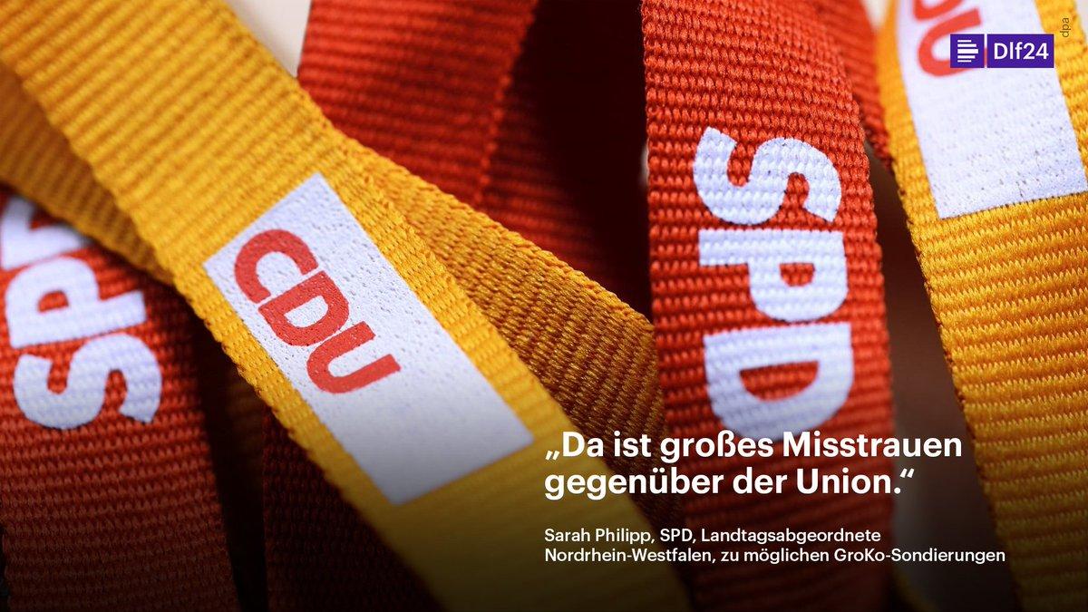 Die stellvertretende Vorsitzende der SPD-Landtagsfraktion in Nordrhein-Westfalen, Philipp, geht davon aus, dass mögliche Sondierungsgespräche mit CDU und CSU schwierig werden. https://t.co/LU1FzBhqsp