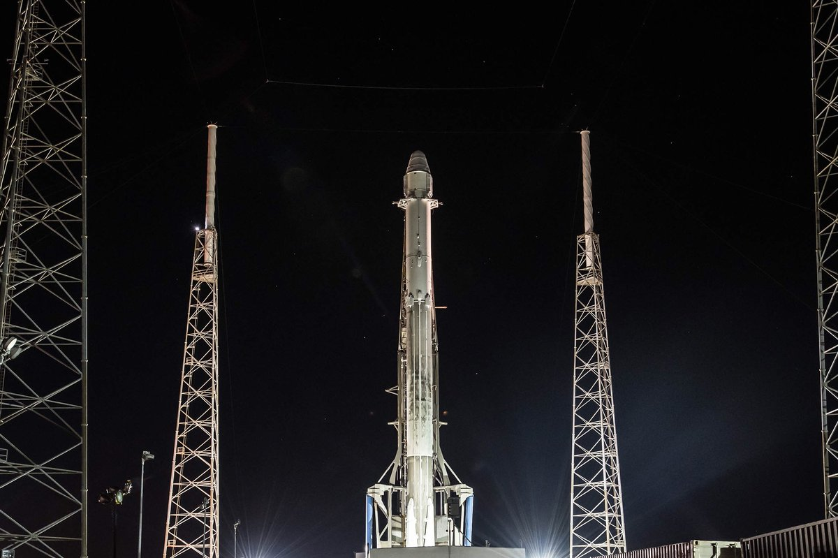 Falcon 9 and Dragon went vertical on SLC-40 early this morning. Weather is 90% favorable for today's launch at 10:36 a.m. EST, 15:36 UTC.