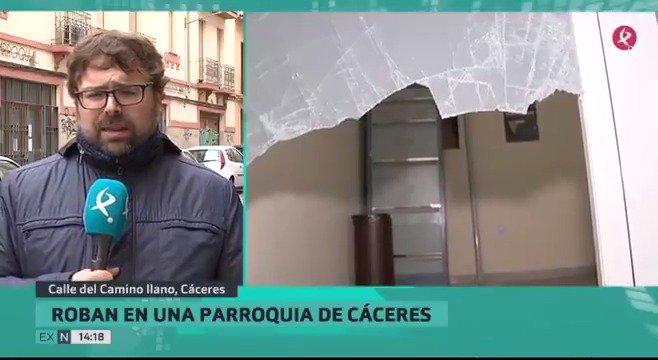 Asalto a un centro parroquial en Cáceres. Los ladrones se han llevado 500 euros destinados a obras de caridad. Lo cuenta @danicomecaminos. #EXN https://t.co/gRHPCRwqWY