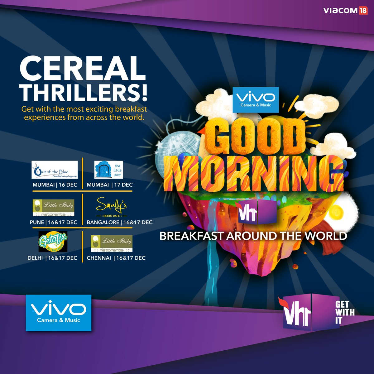 Get ready for the most exciting breakfast experiences from across the world because Cereal Thrillers are here! Pick your spot and be there for a culinary treat #GoodMorningvh1