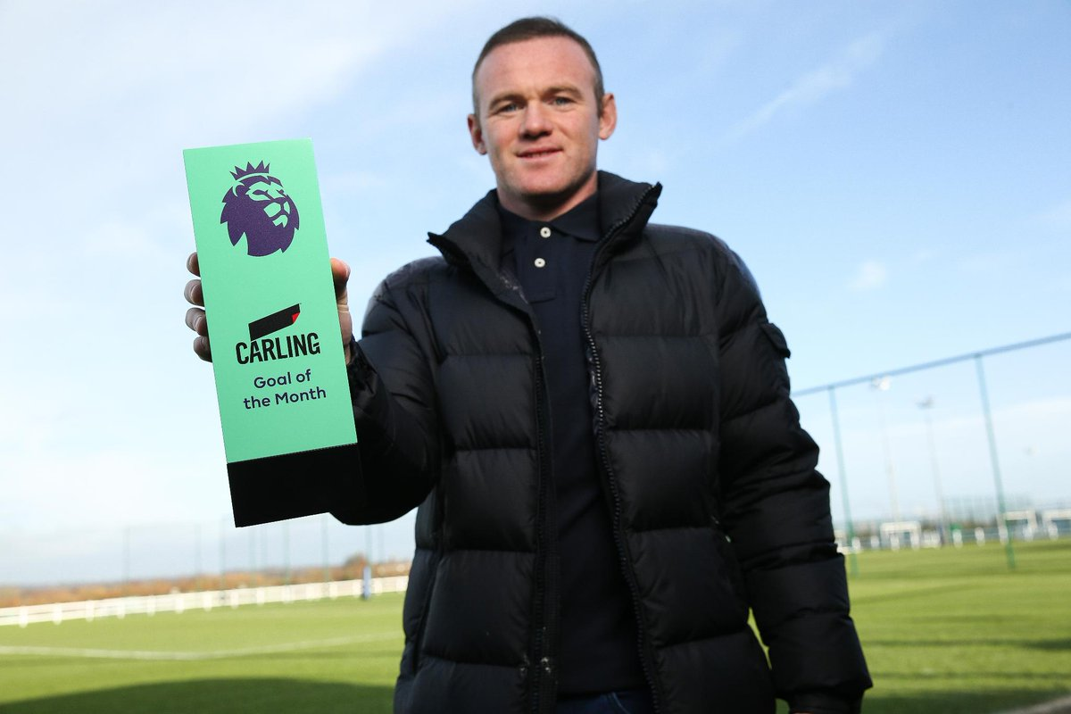 Congratulations to @Everton 's @WayneRooney  on winning the November Carling Goal of the Month Award for his stunning effort from halfway against West Ham 🏆