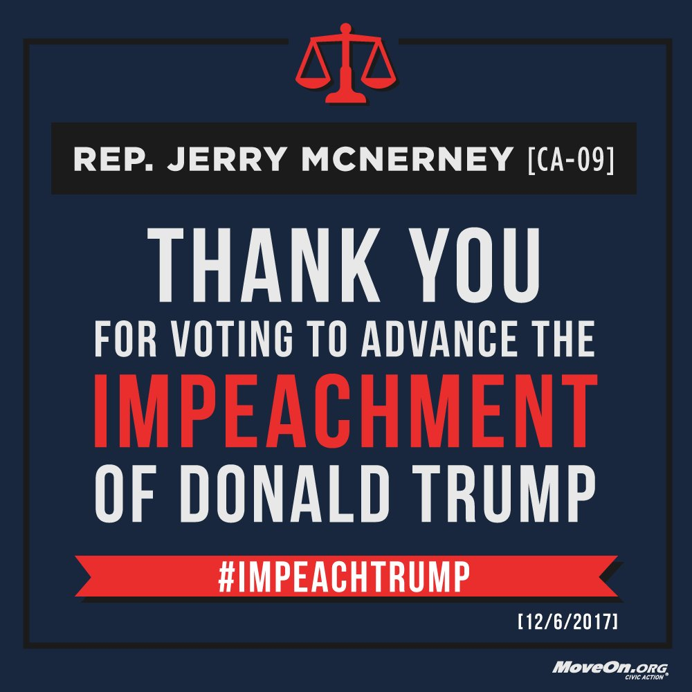 .@RepMcNerney, thank you for your vote to impeach @realDonaldTrump. ADD YOUR NAME & demand  wor#Congressk to  now#ImpeachTrump: https://t.co/nkS8pc7Jwf