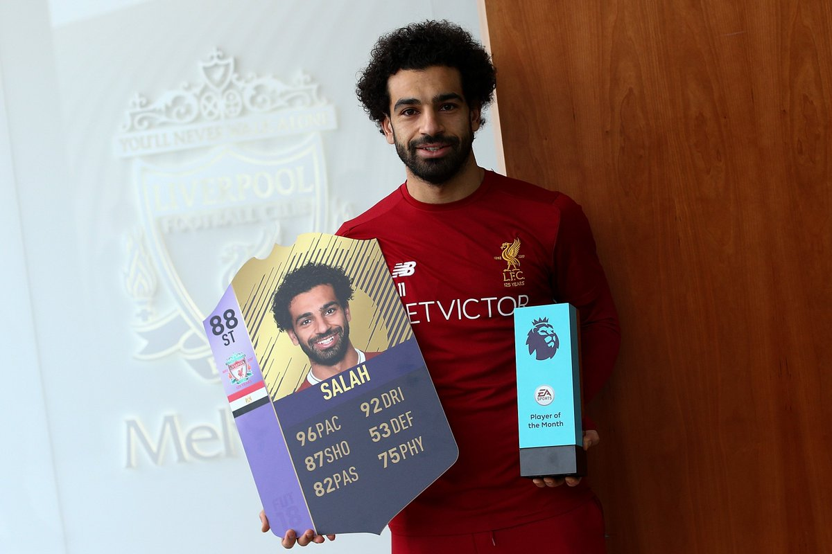 Check those stats 😱  Congrats @22mosalah, #PL Player of the Month for November! SBC 👉 https://t.co/2S3wD459P2 #FIFA18 #FUT @premierleague