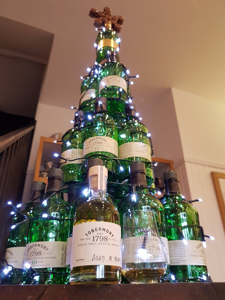 tobermory distillery on twitter what could possibly make a christmas tree made out of tobermory bottles even better a full bottle and a wee dram of our - How To Make A Wine Bottle Christmas Tree