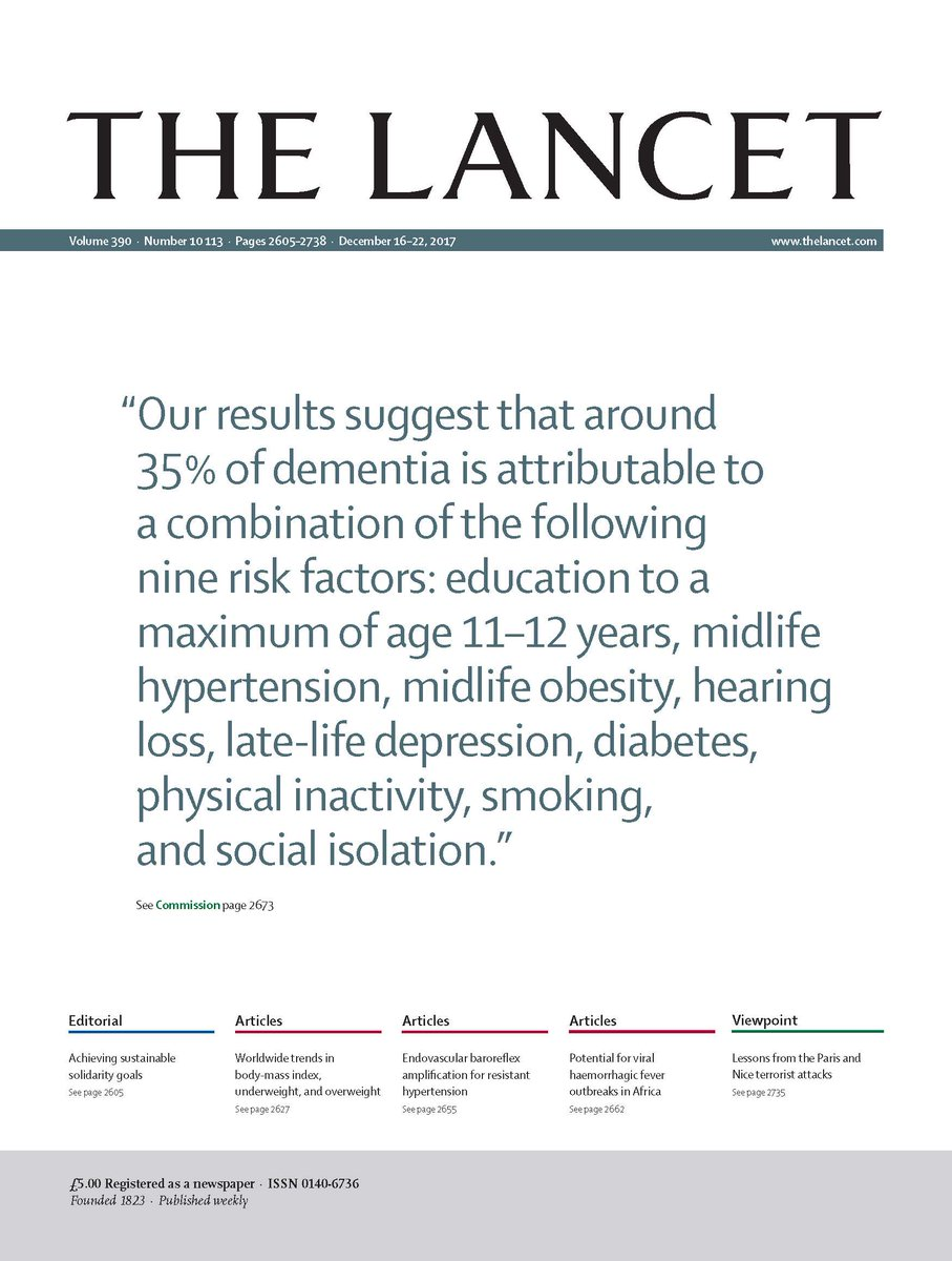 On this week's cover: 1 in 3 dementia cases could be prevented by acting on risk factors throughout life—full  Commission on #dementia free to read https://t.co/fjGcdAVpu8