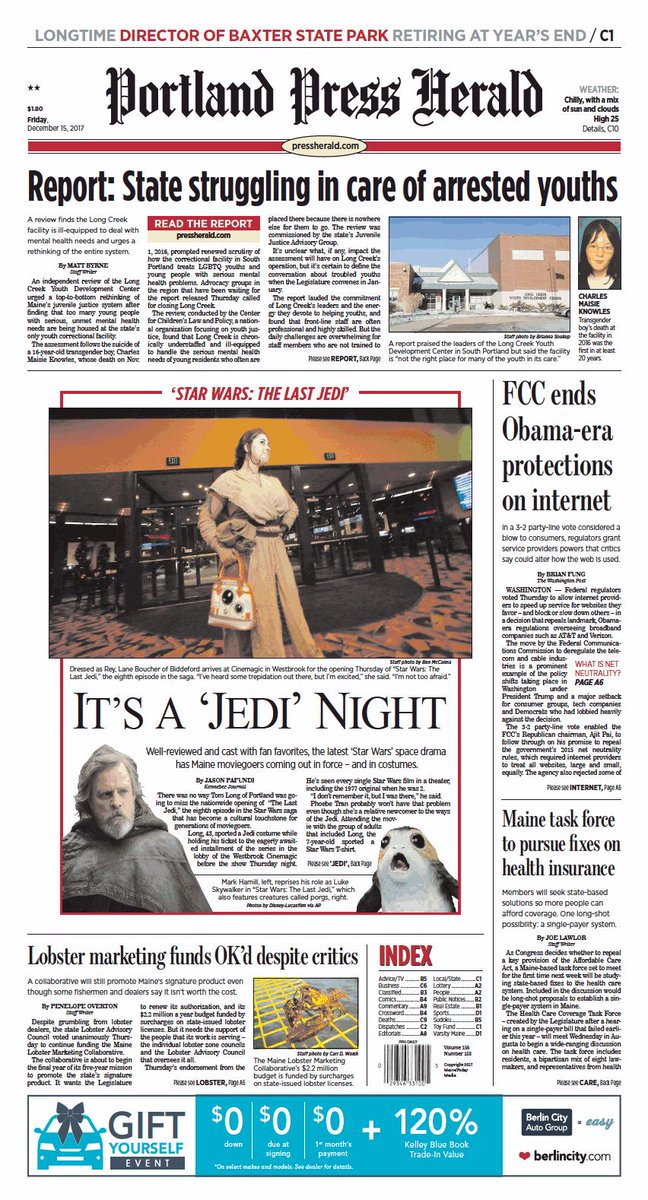 Today's Portland Press Herald front page, Friday, December 15, 2017